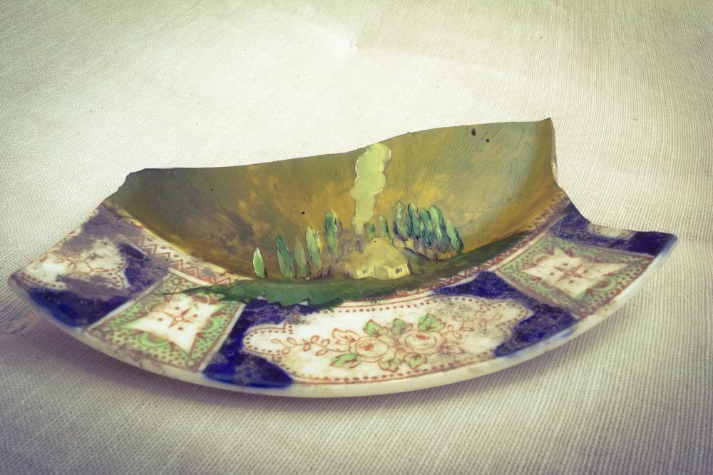 Broken Idyll 2014 oil on found ceramics