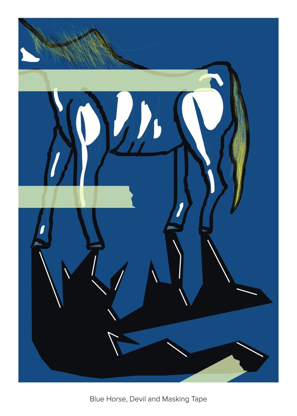 blue horse devil and masking tape
